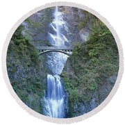 Round Beach Towel featuring the photograph Multnomah Falls Columbia River Gorge by Dave Welling