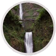 Round Beach Towel featuring the photograph Multnomah Falls by Suzanne Luft