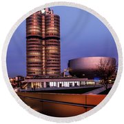 munich - BMW office - vintage Round Beach Towel
