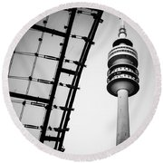 Munich - Olympiaturm And The Roof - Bw Round Beach Towel