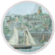 Round Beach Towel featuring the drawing Munjoy Hill by Dominic White