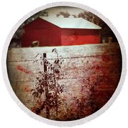 Murder In The Red Barn Round Beach Towel