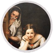Murillo's Two Women At A Window Round Beach Towel by Cora Wandel