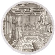 Museum Of Ole Worm, Leiden, 1655 Engraving Round Beach Towel
