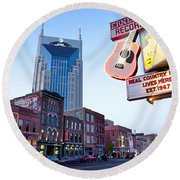 Music City Usa Round Beach Towel