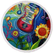 Music On Flowers Round Beach Towel by Genevieve Esson