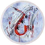 Musical Abstract 005 Round Beach Towel
