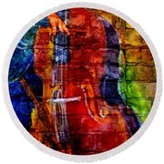 Musician Bass And Brick Round Beach Towel