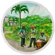 Musicians On Island Of Grenada Round Beach Towel by Frank Hunter