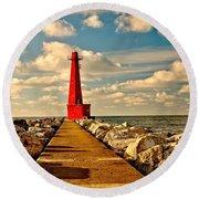Muskegon South Pier Light Round Beach Towel