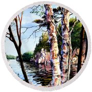 Round Beach Towel featuring the painting Muskoka Reflections by Hanne Lore Koehler