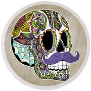 Round Beach Towel featuring the drawing Mustache Sugar Skull Vintage Style by Tammy Wetzel