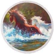 Mustang Splash Round Beach Towel