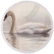 Mute Swan Painting Round Beach Towel