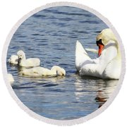 Round Beach Towel featuring the photograph Mute Swans by Alyce Taylor