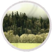Round Beach Towel featuring the photograph Muted Hillside Colors by Katie Wing Vigil