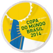 My 2014 World Cup Soccer Brazil - Rio Minimal Poster Round Beach Towel by Chungkong Art