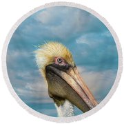 My Better Side - Florida Brown Pelican Round Beach Towel