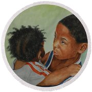 My Brother's Keeper Round Beach Towel