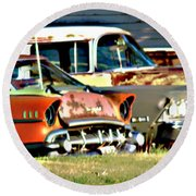 Round Beach Towel featuring the digital art My Cars by Cathy Anderson