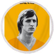 My Cruijff Soccer Legend Poster Round Beach Towel by Chungkong Art