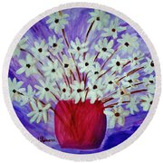My Daisies Blue Version Round Beach Towel