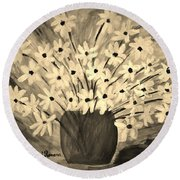 My Daisies Sepia Version Round Beach Towel
