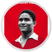 My Eusebio Soccer Legend Poster Round Beach Towel by Chungkong Art