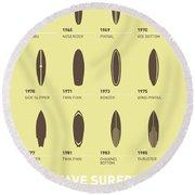My Evolution Surfboards Minimal Poster Round Beach Towel