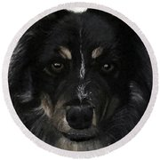 Round Beach Towel featuring the painting My Favorite Bud by Sharon Duguay