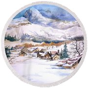 My First Snow Scene Round Beach Towel