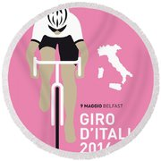 My Giro D Italia Minimal Poster 2014 Round Beach Towel