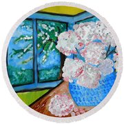 My Grandma S Flowers   Round Beach Towel