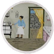 Round Beach Towel featuring the painting Coal Miners Wife by Jeffrey Koss