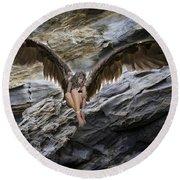 My Guardian Angel Round Beach Towel