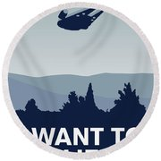 My I Want To Believe Minimal Poster-millennium Falcon Round Beach Towel by Chungkong Art