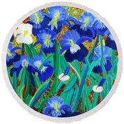 My Iris - Inspired  By Vangogh Round Beach Towel