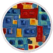 Round Beach Towel featuring the painting My Jazz N Blues 2 by Holly Carmichael