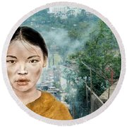 My Kuiama A Young Vietnamese Girl Version II Round Beach Towel by Jim Fitzpatrick