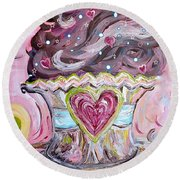 Round Beach Towel featuring the painting My Lil Cupcake - Chocolate Delight by Eloise Schneider