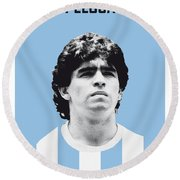 My Maradona Soccer Legend Poster Round Beach Towel by Chungkong Art