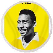 My Pele Soccer Legend Poster Round Beach Towel by Chungkong Art