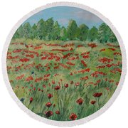 My Poppies Field Round Beach Towel by Felicia Tica