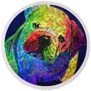 My Psychedelic Bulldog Round Beach Towel