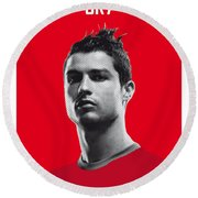 My Ronaldo Soccer Legend Poster Round Beach Towel by Chungkong Art