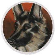 Round Beach Towel featuring the painting My Sadie by Jeanne Fischer