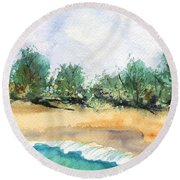 Round Beach Towel featuring the painting My Secret Beach by Marionette Taboniar