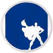 My Superhero 03 Super Blue Minimal Poster Round Beach Towel