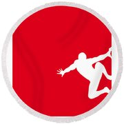 My Superhero 04 Spider Red Minimal Poster Round Beach Towel