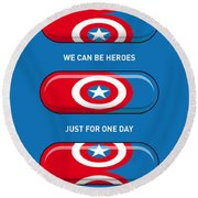 My Superhero Pills - Captain America Round Beach Towel